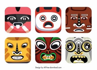 square masks templates colorful decor emotional sketch