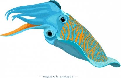 squid icon blue yellow 3d design