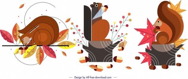 squirrel animal icons classical colorful flat design