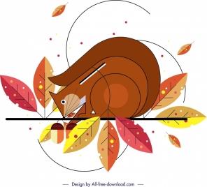 squirrel animal painting colorful flat design