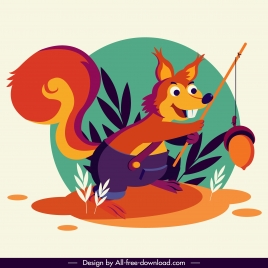 squirrel icon cute stylized cartoon character