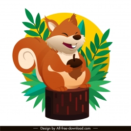 squirrel painting cute cartoon character sketch