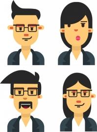 staff lifestyles icons portrait avatars colored cartoon design