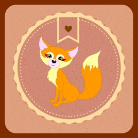 stamp icon cute cartoon fox decoration