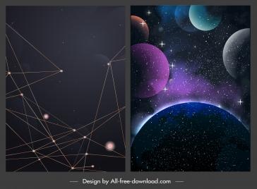 stars background templates dark modern connection planets sketch