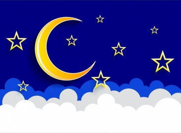 stars moon sky background blue yellow white decor