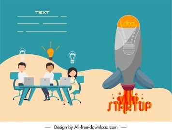 startup banner working staffs lightbulb spaceship lightbulb sketch