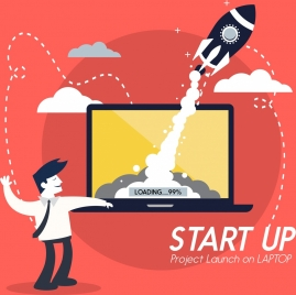 startup concept banner male rocket computer screen icons