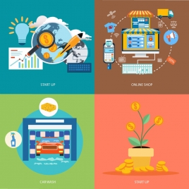 startup ideas concepts illustration with various careers