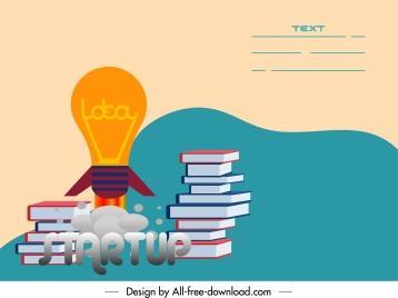 startup poster book stack lightbulb sketch