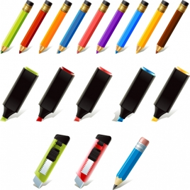stationary icons collection 3d multicolored realistic design