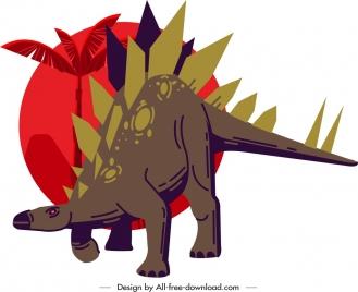 stegosaurus dinosaur icon dark classical cartoon sketch