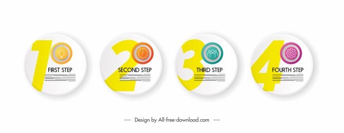 steps infographic elements round disc sketch modern design