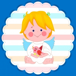 sticker template angel icon decoration rounded design