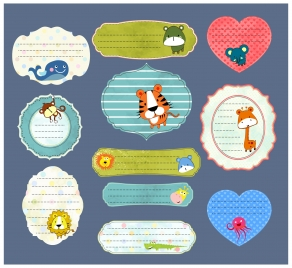 stickers design with cute animals and various shapes