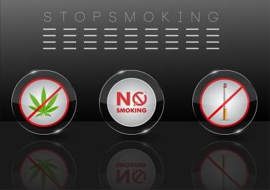 stop smoking banner shiny reflection design circle elements