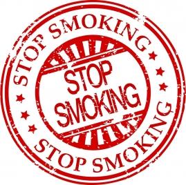 stop smoking seal red flat retro circle design