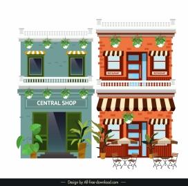 store shop facade templates colored classical decor