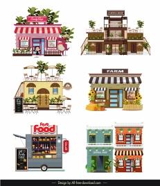 stores templates modern colorful facade sketch