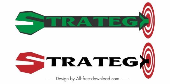 strategy sign templates texts decor arrow target shape