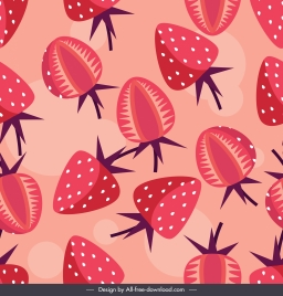 strawberries background red flat decor