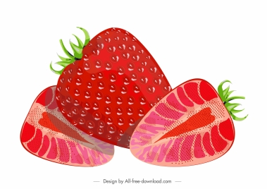 strawberry fruit painting flat red ripe slices sketch