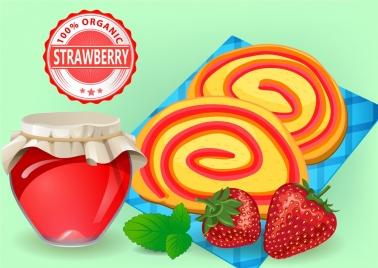 strawberry jam advertisement cake jar icons multicolored design