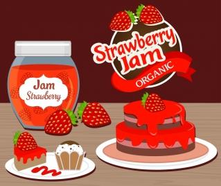 strawberry jam advertising fruit cake icons decor