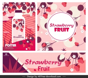 strawberry juice advertising banners classic red decor