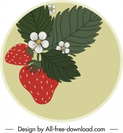 strawberry label template flat classic handdrawn outline