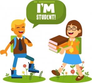 student background boy girl books icons cartoon design
