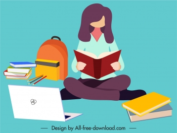 student background studying woman sketch cartoon sketch