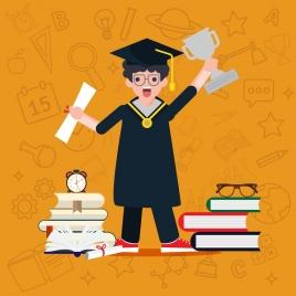 student graduation background boy education design elements icons