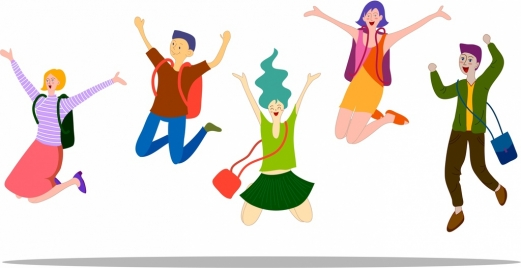 student icons happy excited emotion cartoon characters