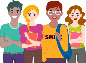 students icons modern colored cartoon characters