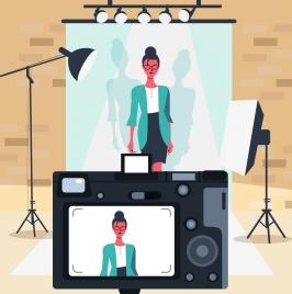 studio background model camera devices icons cartoon design