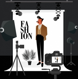 studio room background model devices icons cartoon design