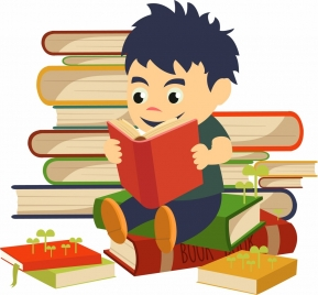 study background boy book stack icons multicolored cartoon