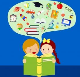 studying children theme learning symbol elements decoration