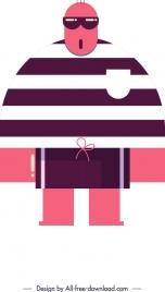 stylish man icon funny cartoon character flat design