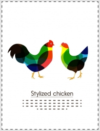 stylized chicken design colorful bokeh style