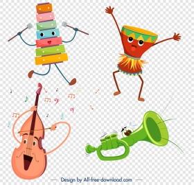 stylized instrument icons violin drum lithophone trumpet design
