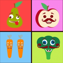 stylized vegetable icons colored cartoon design