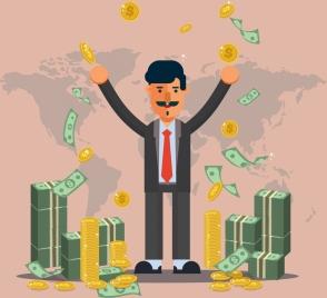 success business concept background man money coins icons