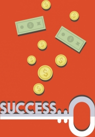 success concept background colored money coins key icons