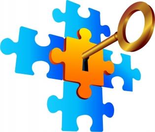 success concept background shiny key puzzle joints decoration