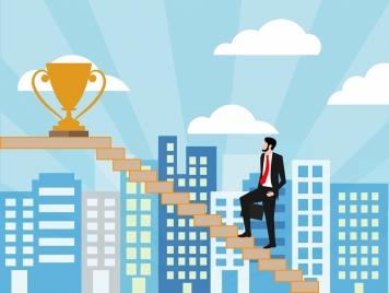 success concept man cup steps decoration city background