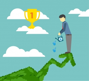 success concept theme man watering target tree design