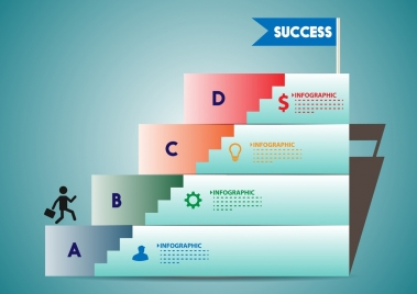 success infographic horizontal stairs chart ornament