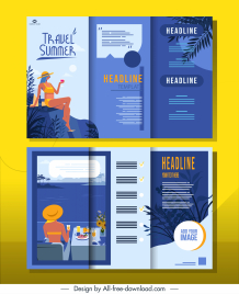summer advertising flyer template colorful classic trifold design